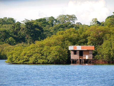 Rustic stilt hut over water in the mangrove, archipelago of Bocas del Toro, Panama, Caribbean sea photo