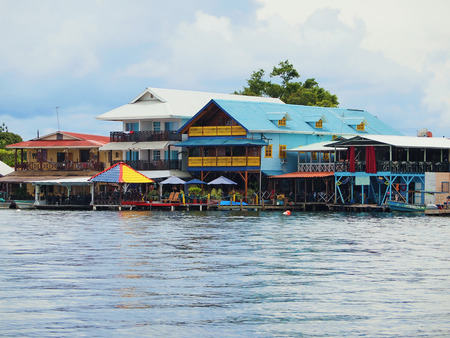 colon panama: Caribbean hotels and restaurants over the water, Colon island, Caribbean sea, Bocas del Toro, Panama