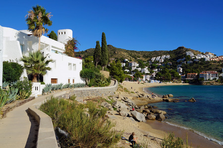 beaches of spain: Footpath on the Mediterranean sea coast with beautiful beach and villa, Cala Canyelles Petites, Rosas, Costa Brava, Catalonia, Spain