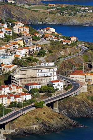 vermilion coast: Coastal road in the village of Cerbere, Cote Vermeille, Pyrenees Orientales, Mediterranean sea, Roussillon, France Stock Photo