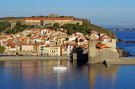 Morning light over the Mediterranean village of Collioure, Vermilion coast, Languedoc-Roussillon, France photo