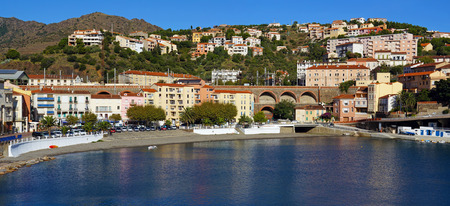 vermilion coast: Panoramic view on the Mediterranean village of Cerbere and its beach, Cote Vermeille, Pyrenees Orientales, Roussillon, France Stock Photo