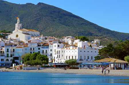 Beautiful Mediterranean village of Cadaques with its church and casino, Catalonia, Costa Brava, Spain photo