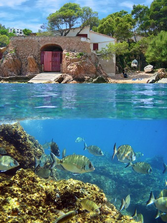 boathouse: Surface and underwater view with school of fish and coastal house with boathouse, Mediterranean sea, Costa Brava, Catalonia, Spain