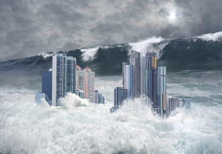 tsunami: Apocalyptic scene of modern city