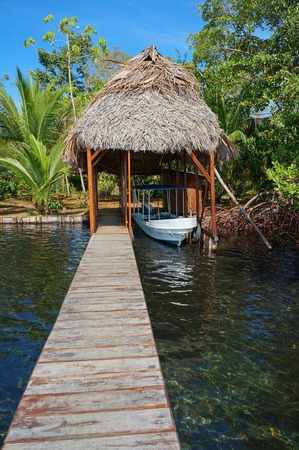 boathouse: A boathouse with thatched palm roof and its dock