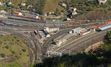 vermilion coast: Aerial view of the last train station before Spain in the south of France, village of Cerbere, Mediterranean, Pyrenees Orientales, Roussillon