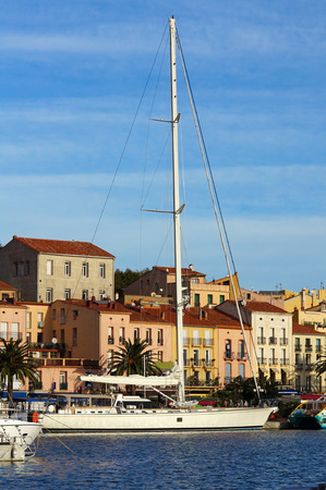 port vendres: Large sailing yacht at dock in the harbor of Port-Vendres, Roussillon, Pyrenees Orientales, France Stock Photo