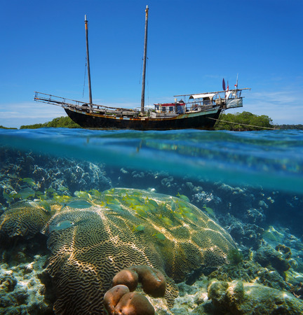 under water: Over-under split view of an old sailing boat stranded on a reef with shoal of tropical fish and coral under the water surface, Caribbean sea Stock Photo