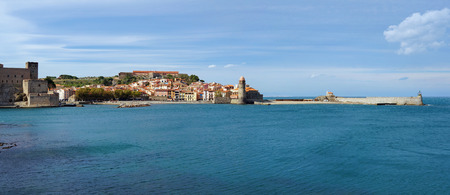 vermilion coast: coastal panorama in the old village of Collioure, Roussillon, Cote Vermeille, Mediterranean sea, Pyrenees Orientales, France Stock Photo
