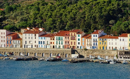 port vendres: colorful waterfront houses in the harbor of Port-Vendres, Roussillon, Pyrenees Orientales, Vermilion coast, France Stock Photo