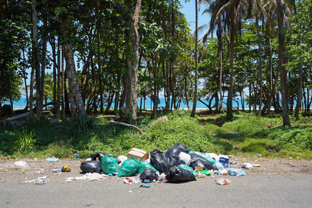 viejo: garbage on path to the beach, Puerto Viejo de Talamanca, Caribbean, Costa Rica