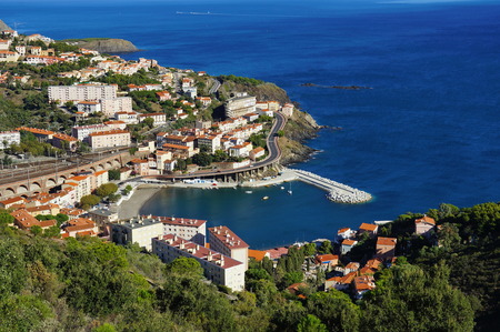 vermilion: Coastal village of Cerbere viewed from above, Mediterranean sea, Vermilion coast, Roussillon, France