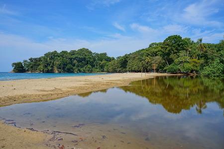 unspoilt: Tropical shore at Punta Uva beach near Puerto Viejo de Talamanca, Caribbean coast of Costa Rica