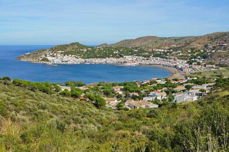 selva: Mediterranean bay with the Spanish village Puerto de la Selva, Costa Brava, Catalonia