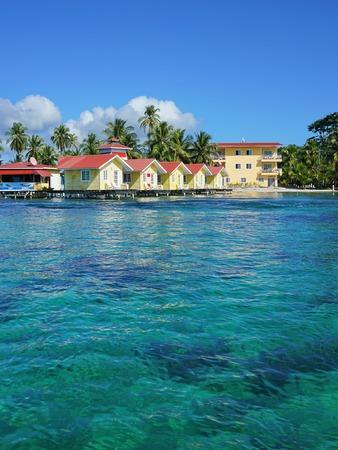 bocas del toro: Caribbean resort with cabins over the sea, Carenero island, Bocas del toro, Panama, Central America