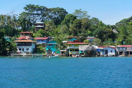 bocas del toro: Caribbean village of Old Bank with tropical vegetation on the coast of Bastimentos island, Bocas del Toro, Panama