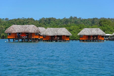 bungalows: Tropical bungalows over water, Caribbean, Panama, Central America