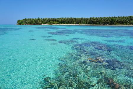 pristine coral reef: Acqua del turchese del mare dei Caraibi con la barriera corallina sotto la superficie e un'isola tropicale incontaminata all'orizzonte di Panama America centrale Archivio Fotografico