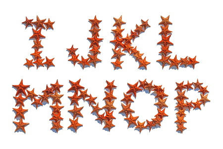 cushion sea star: Alphabet letters made of real starfish isolated on white background, letters I to P, part 2 of 3 Stock Photo