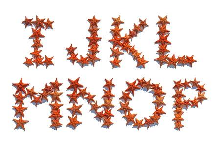 part of me: Las letras del alfabeto hechas de estrellas de mar real, aislado en fondo blanco, las letras I a P, parte 2 de 3 Foto de archivo