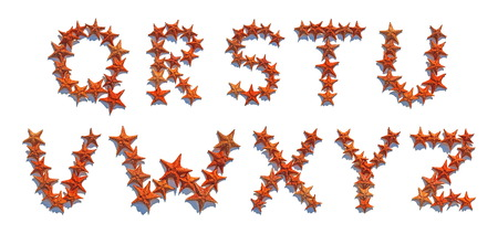 cushion sea star: Alphabet letters made of real starfish isolated on white background, letters Q to Z, part 3 of 3