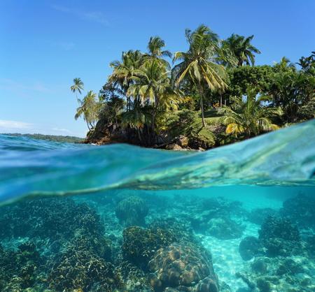 Tropisch eiland en onderwater koralen gesplitst door waterlijn, Caribische zee
