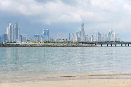 city skyline: Panama City skyscrapers skyline viewed from a beach of the Pacific coast, Panama, Central America Stock Photo