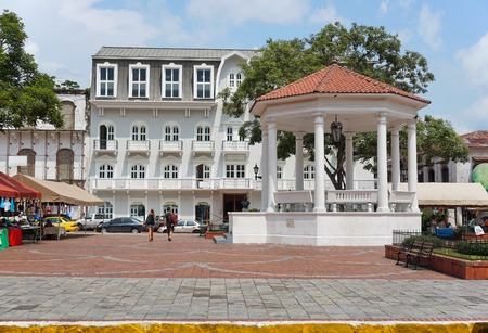 viejo: The Plaza de la Independencia and its gazebo in the Casco Viejo, the historic district of Panama City, Panama, Central America