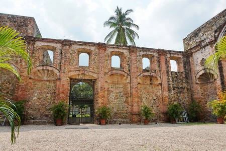 Ruin of the church of the Society of Jesus in the Casco Antiguo,  the historic district of Panama City, Panama, Central America Stock Photo