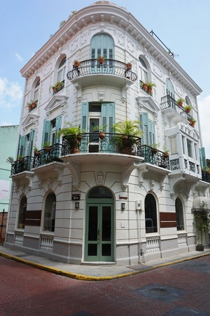 historic district: Spanish colonial house in the Casco Antiguo, the historic district of Panama City, Panama, Central America Editorial