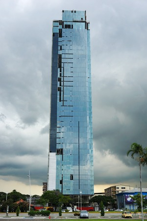 panama city: New building in construction in Panama city with stormy sky in background, Panama, Central America