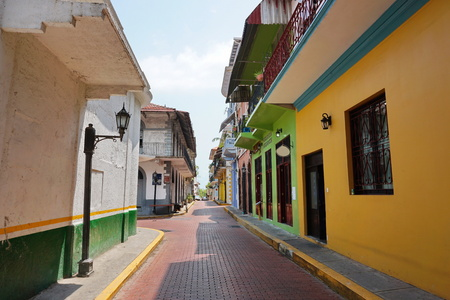 historic district: Narrow paved street of Casco Viejo, the historic district of Panama City, Panama, Central America