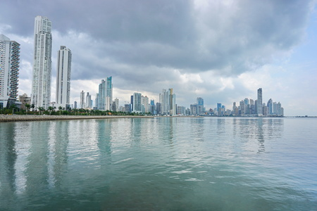 panama city: Pacific ocean coastline with Panama City skyscrapers and cloudy sky, Panama, Central America