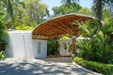 home exterior: Tropical architecture, covered entrance made with bamboo, Caribbean, Puerto Viejo, Costa Rica