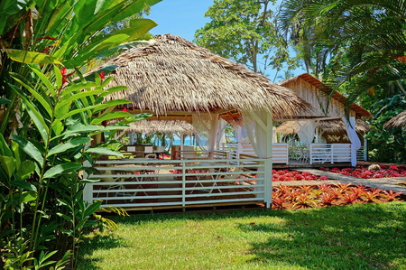 Tropical restaurant with thatched roof and colorful plants, Caribbean, Puerto Viejo de Talamanca, Costa Rica
