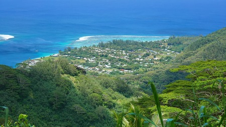 fare: View over the village of Fare from the mount Turi, Huahine Nui island, Pacific ocean, French Polynesia