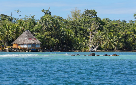 bocas del toro: Lush tropical shore with a thatched bungalow, seen from the sea, Caribbean, Carenero island, Bocas del Toro, Panama, Central America