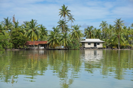 islet: Tropical shore of an islet with coconut trees and typical Polynesian house, Huahine island, Pacific, French Polynesia