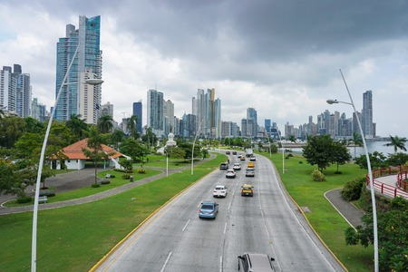 panama city: Highway in Panama City with skyscrapers and cloudy sky, Panama, Central America Stock Photo