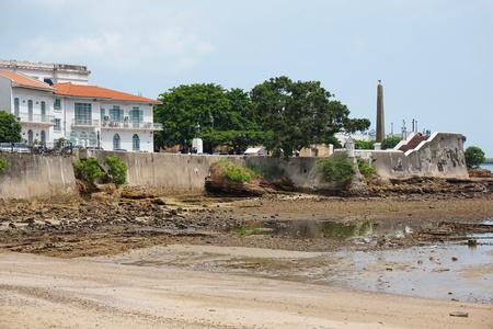 Sea shore near the Plaza de Francia in the Casco Viejo, the historic district of Panama City, Panama, Central America
