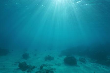ocean floor: Ocean floor with sunlight through water surface, natural scene underwater, Pacific ocean, French Polynesia Stock Photo