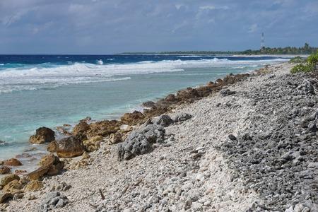 atoll: Sea shore on the entry of the Tiputa pass, atoll of Rangiroa, Tuamotu archipelago, French Polynesia, Pacific ocean