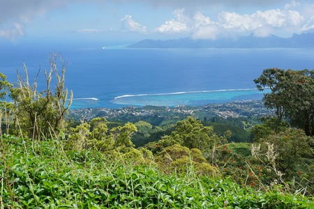 south pacific ocean: Viewpoint to Punaauia and Moorea island from the mountains of Tahiti island, French Polynesia, south Pacific ocean