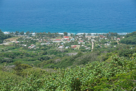 south pacific: Viewpoint over the coastal village of Auti from the heights of the island of Rurutu, south Pacific ocean, Austral archipelago, French Polynesia Stock Photo