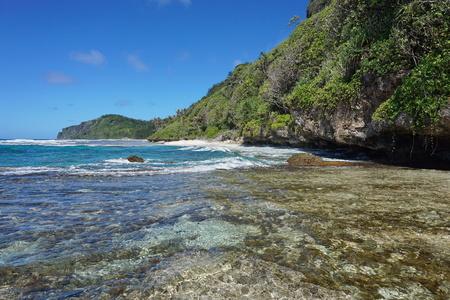 south pacific: Coastal landscape on the sea shore of Rurutu island, south Pacific ocean, Austral archipelago, French Polynesia Stock Photo