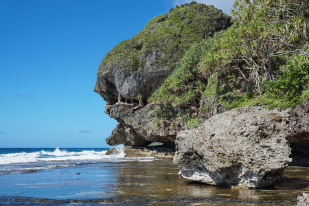 natural formation: Eroded rocky shore with natural formation that looks like a monster head, Rurutu island, Pacific ocean, Austral archipelago, French Polynesia