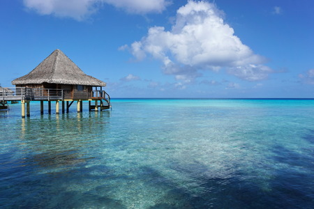 south pacific ocean: Seascape with overwater bungalow in the lagoon of Rangiroa, south Pacific ocean, Tuamotu, French Polynesia