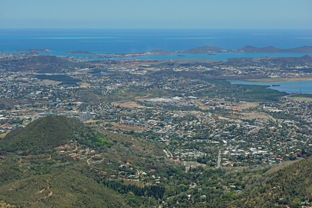 south pacific ocean: Aerial view of Noumea city on the southwest coast of New Caledonia island, south Pacific ocean