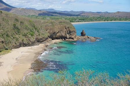 rock formation: Turtle bay beach and rock formation, West coast of Grande Terre island near Bourail in New Caledonia, south Pacific